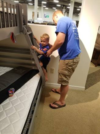 Trying out cool bunk beds